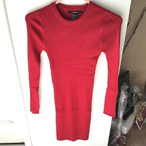 Forever 21 Dresses - New Red Ribbed Bodycon Sweater Dress